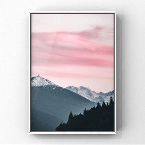 Pink and grey modern mountain landscapes art print
